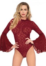 Lace-bell-sleeve-teddy-Rood-One-Size