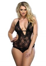 Lace-Deep-V-Halter-Teddy-Plus-Size