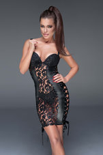 Black-Lace-and-powerwetlook-minidress-with-ribbon